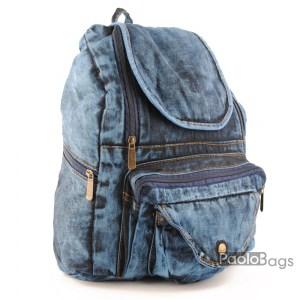 Дънкова дамска раница обемна става за формат А4 лека удобна и практична с джобче с двоен преден джоб