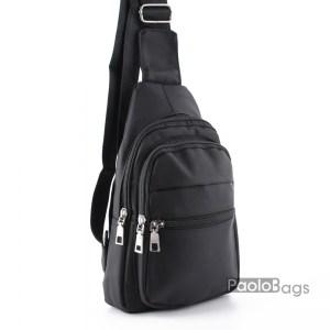 Мъжка чанта от плат за носене на рамо гърди или гръб тип раница от непромокаема материя черна 25105