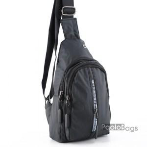 Мъжка чанта от плат черна за носене на рамо гърди или гръб тип раница от непромокаема материя черна 25108
