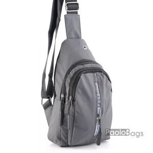 Мъжка чанта от плат сива за носене на рамо гърди или гръб тип раница от непромокаема материя черна 25105