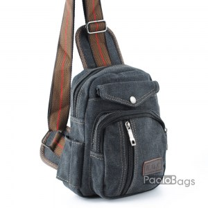 Мъжка чанта от плат за носене на рамо гърди или гръб тип раница от брезентова непромокаема материя черна 25104