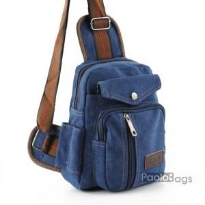 Мъжка чанта от плат за рамо гръб или гърди тип раница