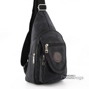 Мъжка чанта от плат за носене на рамо гърди или гръб тип раница от брезентова непромокаема материя черна 25105