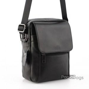Мъжка чанта от естествена кожа телешки бокс изчистен и стилен модел стандартен размер с подарък кожен калъф за документи