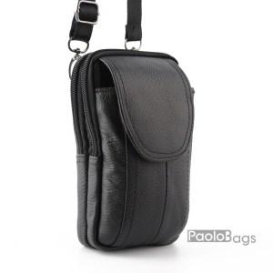 Мъжка чанта от естествена кожа малка за през рамо и с гайка за колан височина 19см. ширина 11см. с две отделения с цип изчистен модел
