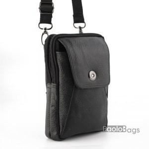 Мъжка чанта от естествена кожа малка за през рамо и с гайка за колан височина 19см. ширина 11см. с две отделения с цип