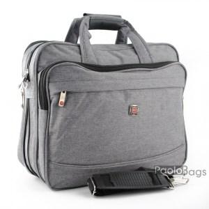 Мъжка чанта сива от плат голяма здрава материя за през рамо 25111