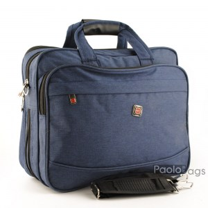 Мъжка чанта синя от плат голяма здрава материя за през рамо 25112