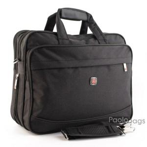 Мъжка чанта черна от плат голяма здрава материя за през рамо 25113