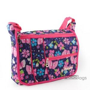 Дамска чанта за през рамо обемна практичен модел с допълнителни джобове