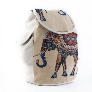 Дамска раница от плат лека, удобна и обемна със слон в светъл десен