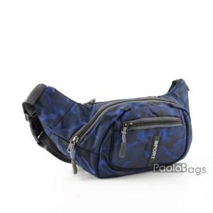 Мъжка чанта от плат за носене на кръста тип банан паласка от непромокаема материя удобна за носене и през рамо на гърди или гръб синя