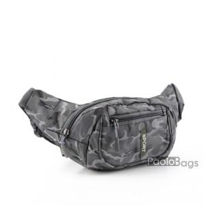 Мъжка чанта от плат за носене на кръста тип банан паласка от непромокаема материя удобна за носене и през рамо на гърди или гръб сива