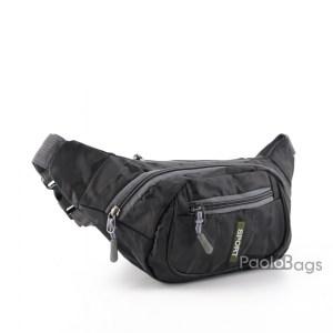 Мъжка чанта от плат за носене на кръста тип банан паласка от непромокаема материя удобна за носене и през рамо на гърди или гръб черна