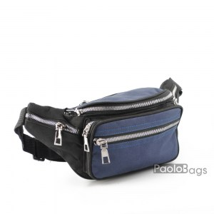 Мъжка чанта от плат за носене на кръста тип банан паласка от непромокаема материя удобна за носене и през рамо на гърди или гръб синьо с черно