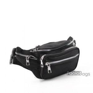 Мъжка чанта от плат за носене на кръста тип банан паласка от непромокаема материя удобна за носене и през рамо на гърди или гръб цвят черен