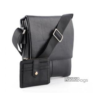 Мъжка чанта от естествена кожа стилен и елегантен изчистен модел с удобни три вътрешно отделения едното с цип стандартен размер и подарък кожен калъф за документи