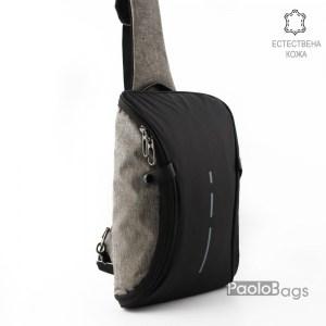 Мъжка чанта от плат непромокаема материя тип раница за носене през рамо на гръб или гърди обемна става за таблет