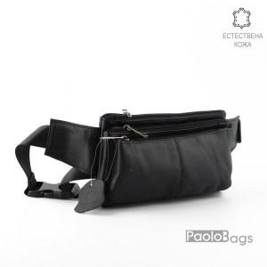 Мъжка чанта от естествена кожа за носене на кръст тип банан паласка удобна за през рамо и гърди дебела телешка кожа