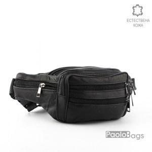Мъжка чанта от естествена кожа за носене на кръст тип банан паласка удобна за през рамо и гърди 26006
