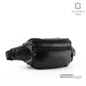 Мъжка чанта от естествена кожа за носене на кръст тип банан паласка удобна за през рамо и гърди 26007