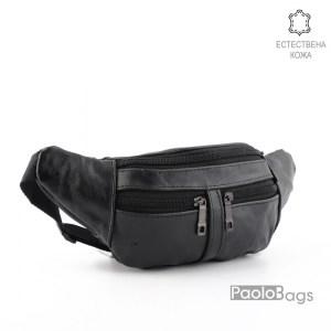 Мъжка чанта от естествена кожа за носене на кръст тип банан паласка удобна за през рамо и гърди 26008
