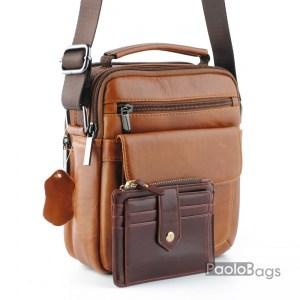 Мъжка чанта от естествена кожа за през рамо с допълнително отделение и джобчета с дръжка за носене в ръка кафява и подарък кожен калъф за документи