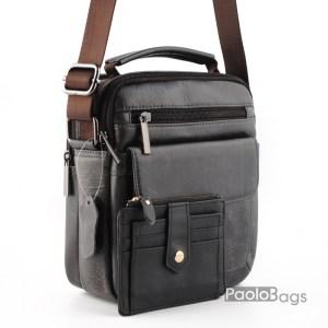 Мъжка чанта от естествена кожа за през рамо с допълнително отделение и джобчета с дръжка за носене в ръка черна и подарък кожен калъф за документи