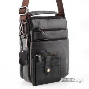 Мъжка чанта от естествена кожа за през рамо с допълнително отделение и джобчета с дръжка за носене в ръка черна с винтидж ефект и подарък кожен калъф за документи