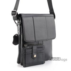 Мъжка чанта от естествена кожа луксозна черна 19100-34