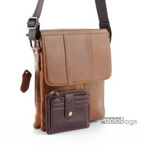 Мъжка чанта от естествена кожа луксозна кафява 19100-1