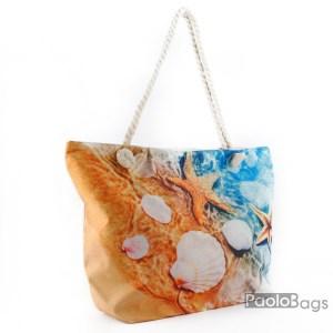 Плажна чанта голяма с цип и здрави дръжки със свежа картинка морски мотиви 26028