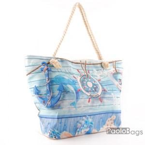 Плажна чанта голяма с цип и здрави дръжки със свежа картинка морски мотиви 26029