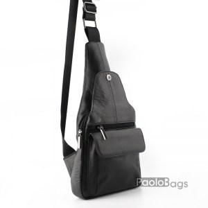 Мъжка чанта от естествена кожа за носене на гръб или гърди тип раница с ляво и дясно носене през рамо с подарък кожен калъф за документи