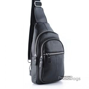 Мъжка чанта от естествена кожа за носене на гръб или гърди тип раница с ляво и дясно носене през рамо и метални ципове с подарък кожен калъф за документи