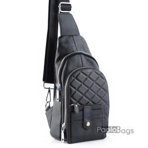Мъжка чанта от естествена кожа за носене на гръб или гърди тип раница с ляво и дясно носене през рамо и метални ципове и ефектен дизайн с подарък кожен калъф за документи