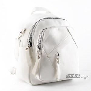Дамска раница с 2в1 и чанта бяла 26060