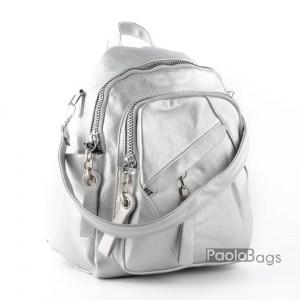 Дамска раница с 2в1 и чанта сребърна 26061