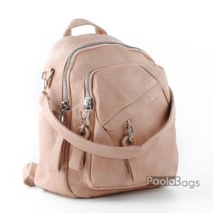 Дамска раница с 2в1 и чанта розова 26062