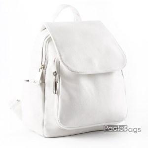 Бяла дамска раница кожена модел номер 26091