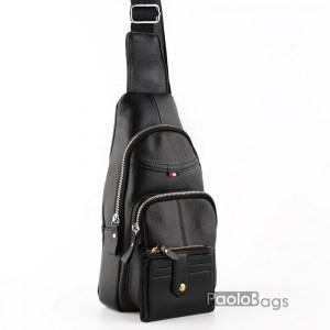 Мъжка чанта от естествена кожа за носене на гръб или гърди тип раница 26099