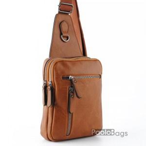 Мъжка чанта от еко кожа за носене на гръб или гърди тип раница 26100