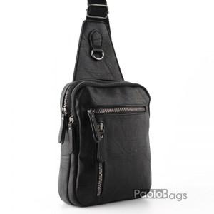 Мъжка чанта от еко кожа за носене на гръб или гърди тип раница 26101