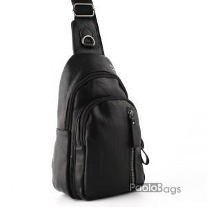 Мъжка чанта от еко кожа за носене на гръб или гърди тип раница 26102
