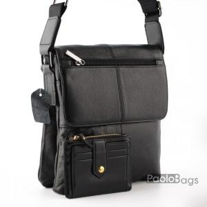 Мъжка чанта от естествена кожа елегантен и изчистен модел с удобно вътрешно разпределение с две отделения височина 25см. с подарък кожен калъф за документи