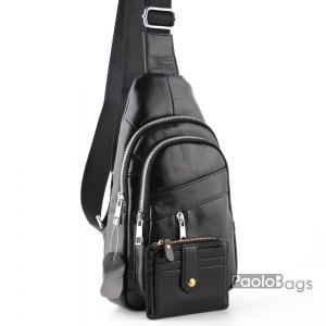 Мъжка чанта от висококачествена естествена кожа за носене през рамо на гръб или гърди тип раница свободни ръце топ модел с подарък кожен калъф за документи