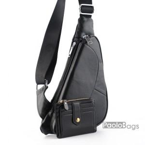 Мъжка чанта от висококачествена естествена кожа за носене през рамо на гръб или гърди тип раница свободни ръце с допълнително отделение и подарък кожен калъф за документи