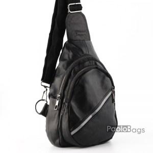 Мъжка чанта от естествена кожа за носене през рамо на гръб или гърди тип раница свободни ръце