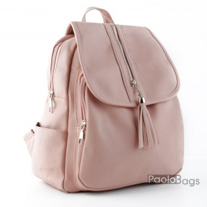 Розова евтина дамска раница кожена с пискюлче модел номер 23403