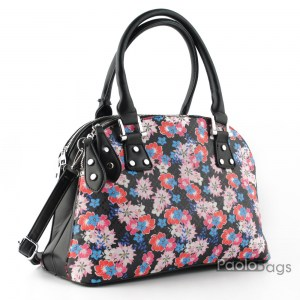 Дамска чанта с цветя дълга дръжка за носене на рамо с две отделни отделения с цип